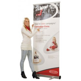 "Campaign Extra Retractable Roll Up Banner Stand - 33.45"" Wide"