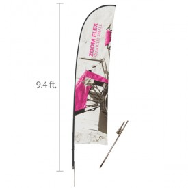 Zoom Flex Custom Printed Straight Flag Set - 9.4 ft.