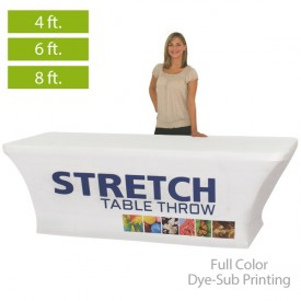 Stretch Full Color Dye-Sub Printed Table Covers for 4 ft., 6 ft. and 8 ft. Table Sizes
