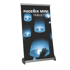 "Phoenix Mini Tabletop Roll Up Banner Stand - 15.5"" wide"