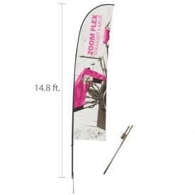 Zoom Flex Custom Printed Straight Flag Set - 14.8 ft.
