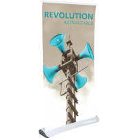 "Revolution Retractable Indoor Banner Stand - 33.5"" wide"