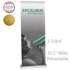 """Excalibur 800 2-Sided Roll Up Retractable Indoor Banner Stand - 31.5"""" wide"""