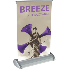 "Breeze Tabletop Roll Up Retractable Indoor Banner Stand - 8.38"" wide"