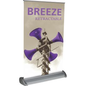 "Breeze-2 Tabletop Roll Up Retractable Indoor Banner Stand - 11"" wide"