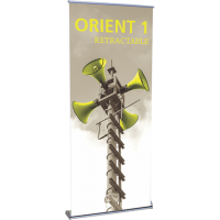 "Orient 850 Roll Up Retractable Indoor Banner Stand - 33.5"" wide"