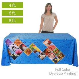 Full Color Dye-Sub Printed Table Covers for 4 ft., 6 ft. and 8 ft. Table Sizes