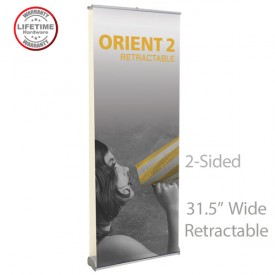 """Orient2 800 2-Sided Roll Up Retractable Indoor Banner Stand - 31.5"""" wide"""