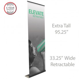 "Elevate Roll Up Retractable Indoor Banner Stand - 33.25"" wide"