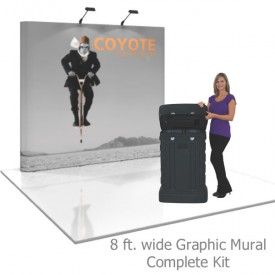 Coyote 8 ft Straight Full Height Pop Up Display - Graphic Mural Complete Kit