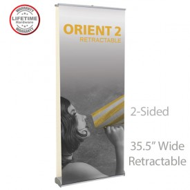 "Orient 2 920 2-Sided Roll Up Banner Stand - 35.5"" wide"