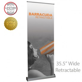 "Barracuda 920 Roll Up Retractable Indoor Banner Stand - 35.5"" wide"