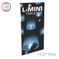 "Lightning-Mini Spring Back Tabletop Banner Stand - 14.25"" wide"