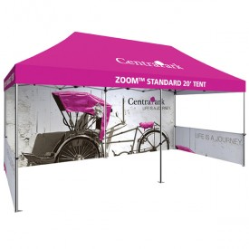 Zoom 20ft. PopUp Tent Kit - Printed Canopy, Full Wall, 2 Half Walls