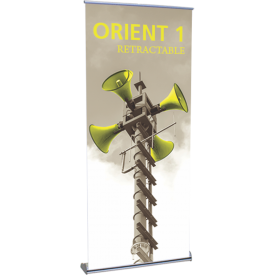 "Orient 920 Roll Up Retractable Indoor Banner Stand - 35.5"" wide"