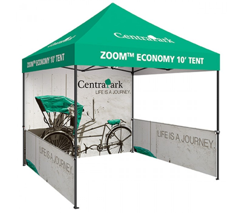 Zoom Economy 10ft. PopUp Tent Kit - Printed Canopy, Full Wall, Half ...