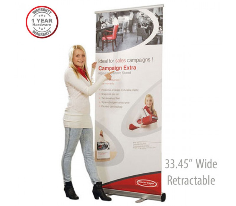 Campaign Extra Retractable Roll Up Banner Stand 33 45