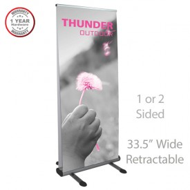 "Thunder Retractable Outdoor Banner Stand - 2-Sided, 33.5"" Wide"