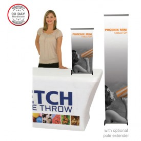 """Phoenix Mini Tabletop Roll Up Retractable Indoor Banner Stand - 15.5"""" wide"""