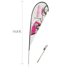 Zoom Flex Custom Printed Teardrop Flag Set - 14.8 ft.