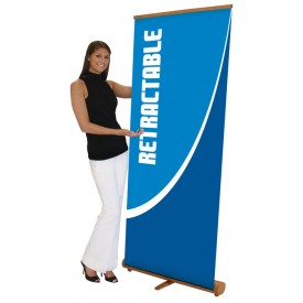 Bamboo Retractable Banner Stand - 33.45in wide